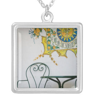 ITALY, Sicily, TAORMINA: Bam, Bar Cafe Detail Square Pendant Necklace