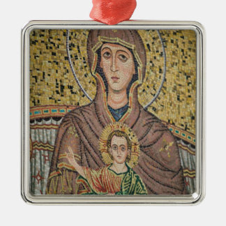 ITALY, Sicily, TAORMINA: Corso Umberto 1, Mosaic Square Metal Christmas Ornament