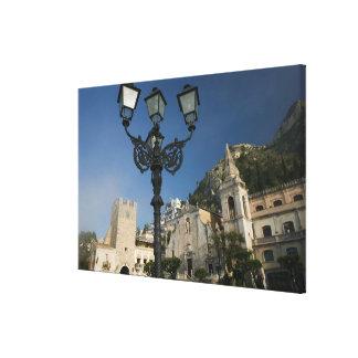ITALY, Sicily, TAORMINA: Piazza iX Aprile, San Stretched Canvas Print