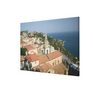 ITALY, Sicily, TAORMINA: View towards Piazza IX Canvas Print