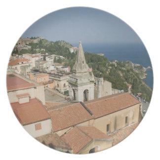 ITALY, Sicily, TAORMINA: View towards Piazza IX Melamine Plate
