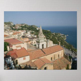 ITALY, Sicily, TAORMINA: View towards Piazza IX Poster
