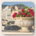 Italy, Sicily, Termini Imerese, View & Flowers Beverage Coaster