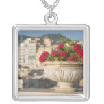 Italy, Sicily, Termini Imerese, View & Flowers Square Pendant Necklace