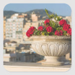 Italy, Sicily, Termini Imerese, View & Flowers Square Sticker