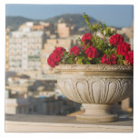 Italy, Sicily, Termini Imerese, View & Flowers Large Square Tile