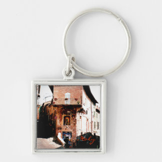 Italy Silver-Colored Square Keychain