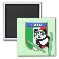 Square Magnet with Italian Ski-jumping Panda design