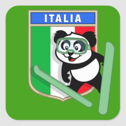 Italian Ski-jumping Panda Square Sticker