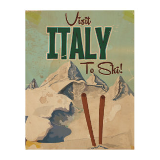 Italy Skiing Vintage travel poster