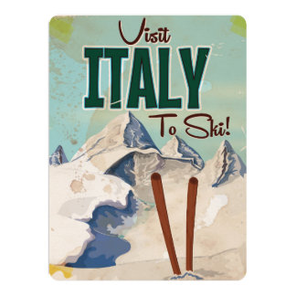 Italy Skiing Vintage travel poster Card