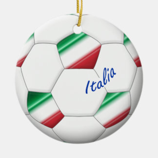 ITALY SOCCER ball and flag of the national team Ceramic Ornament