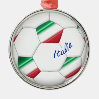 ITALY SOCCER ball and flag of the national team Metal Ornament
