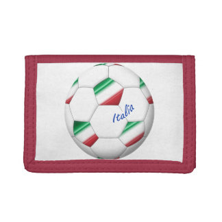 ITALY SOCCER ball and flag of the national team Trifold Wallets