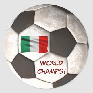 """Italy Soccer Ball """"World Champs"""" Football Sports Classic Round Sticker"""