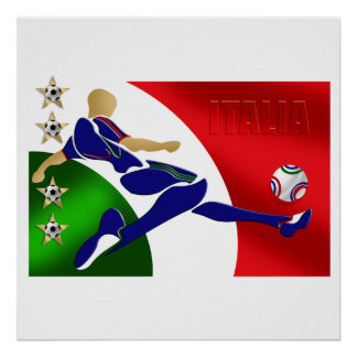 Italy Soccer Mens Athlete football Italia flag fan Poster