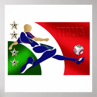 Italy Soccer Mens Athlete football Italia flag fan Poster