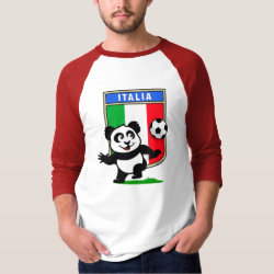 Italy Football Panda Men's Basic 3/4 Sleeve Raglan T-Shirt