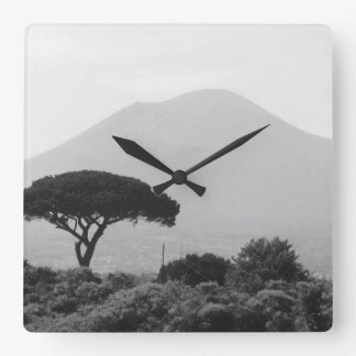 Italy Souvenir from Mount Vesuvius Volcano Square Wall Clock