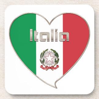 Italy Souvenir ITALIA BANDERA nacional en corazón Posavaso
