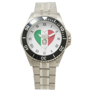 ITALY Souvenir ITALIA BANDERA nacional en corazón Reloj De Mano