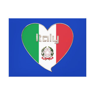 ITALY souvenir of heart and the flag tricolor Stretched Canvas Print