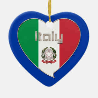 ITALY souvenir of heart and the flag tricolor Ceramic Ornament