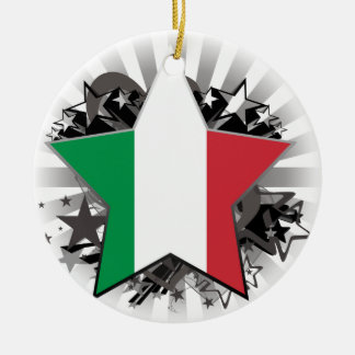 Italy Star Double-Sided Ceramic Round Christmas Ornament