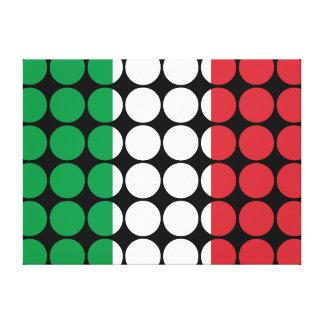 Italy Stylish Girly Chic : Polka Dot Italian Flag Stretched Canvas Prints