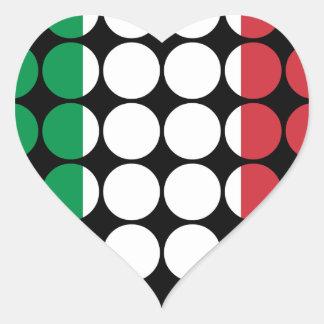 Italy Stylish Girly Chic : Polka Dot Italian Flag Heart Sticker