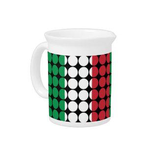 Italy Stylish Girly Chic : Polka Dot Italian Flag Drink Pitchers