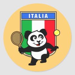 Round Sticker with Italian Tennis Panda design