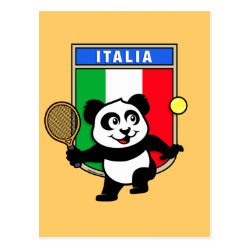 Postcard with Italian Tennis Panda design