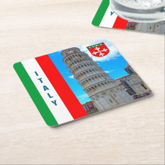 Italy - The Leaning Tower of Pisa Square Paper Coaster