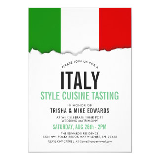Italy Themed Cuisine | Party Flag White Invite
