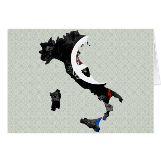 Italy Trendy Peace Sign with Italian map Greeting Cards