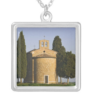 Italy, Tuscany. Close-up of Chapel of Vitaleta Silver Plated Necklace