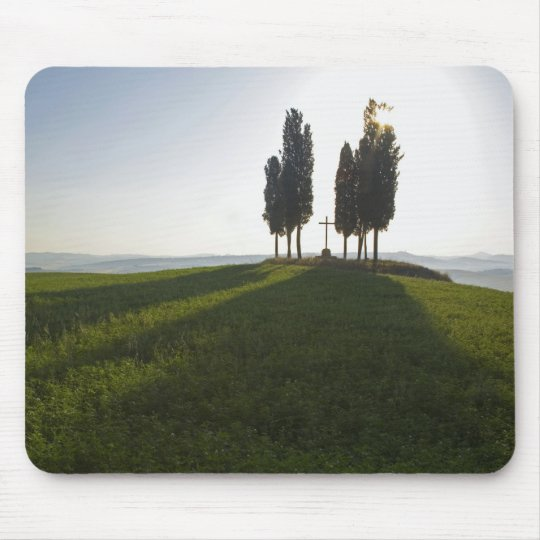 Italy, Tuscany, Cypress Trees in Tuscany with Mouse Pad