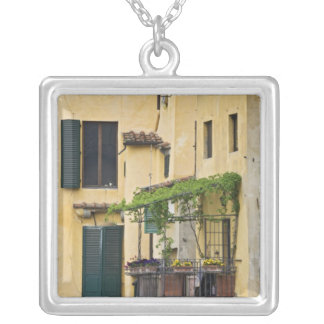 Italy, Tuscany, Florence. Balcony and Silver Plated Necklace