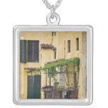 Italy, Tuscany, Florence. Balcony and Square Pendant Necklace