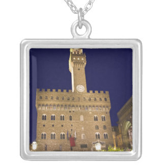 Italy, Tuscany, Florence. Nighttime dining Square Pendant Necklace