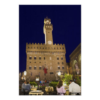 Italy, Tuscany, Florence. Nighttime dining Poster