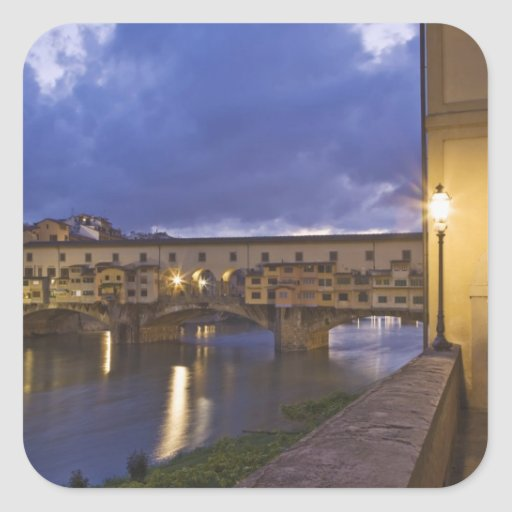 Italy, Tuscany, Florence. Ponte Vecchio Square Sticker