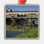 Italy, Tuscany, Florence, The Ponte Vecchio 2 Square Metal Christmas Ornament