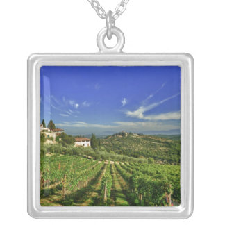 Italy, Tuscany, Greve. The vineyards of Castello Silver Plated Necklace