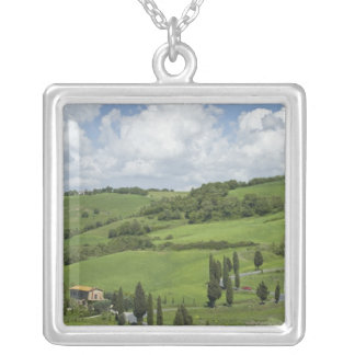Italy, Tuscany. La Foce. A curved road winds up Silver Plated Necklace
