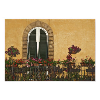 Italy, Tuscany, Lucca. Balcony decorated with Photographic Print