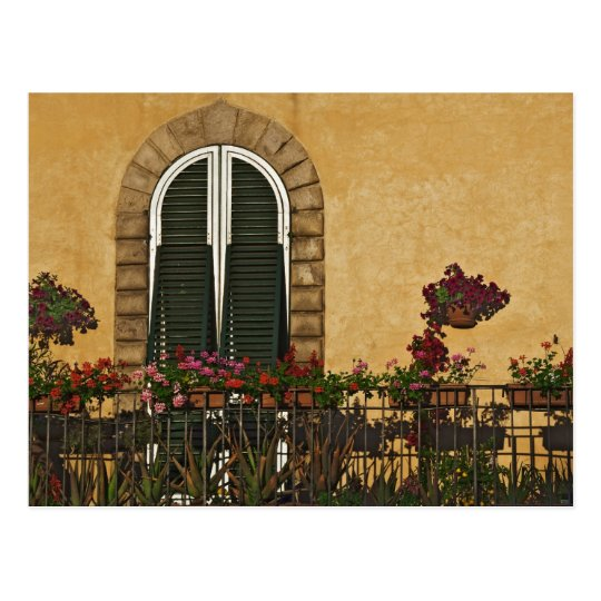 Italy, Tuscany, Lucca. Balcony decorated with Postcard