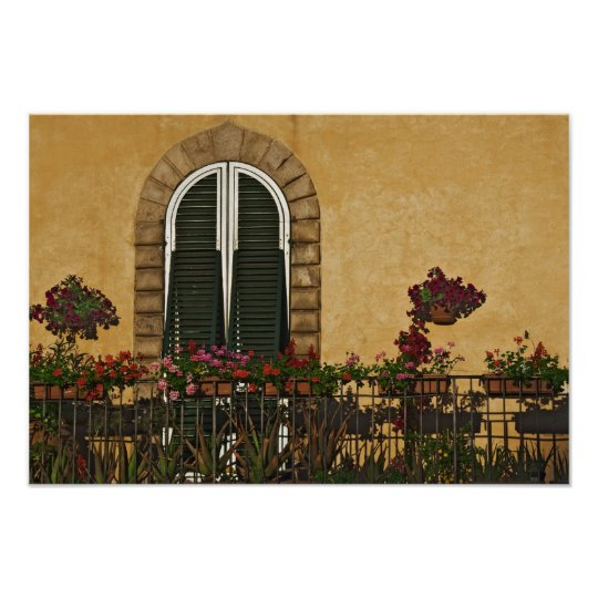 Italy, Tuscany, Lucca. Balcony decorated with Poster