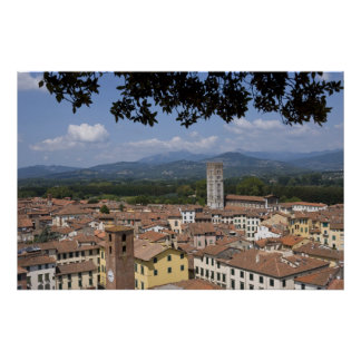 Italy, Tuscany, Lucca, View of the town and 3 Poster